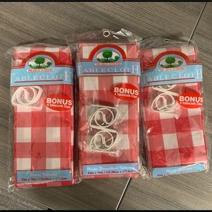 Plastic Checkered Tablecloth with Tablecloth Clips